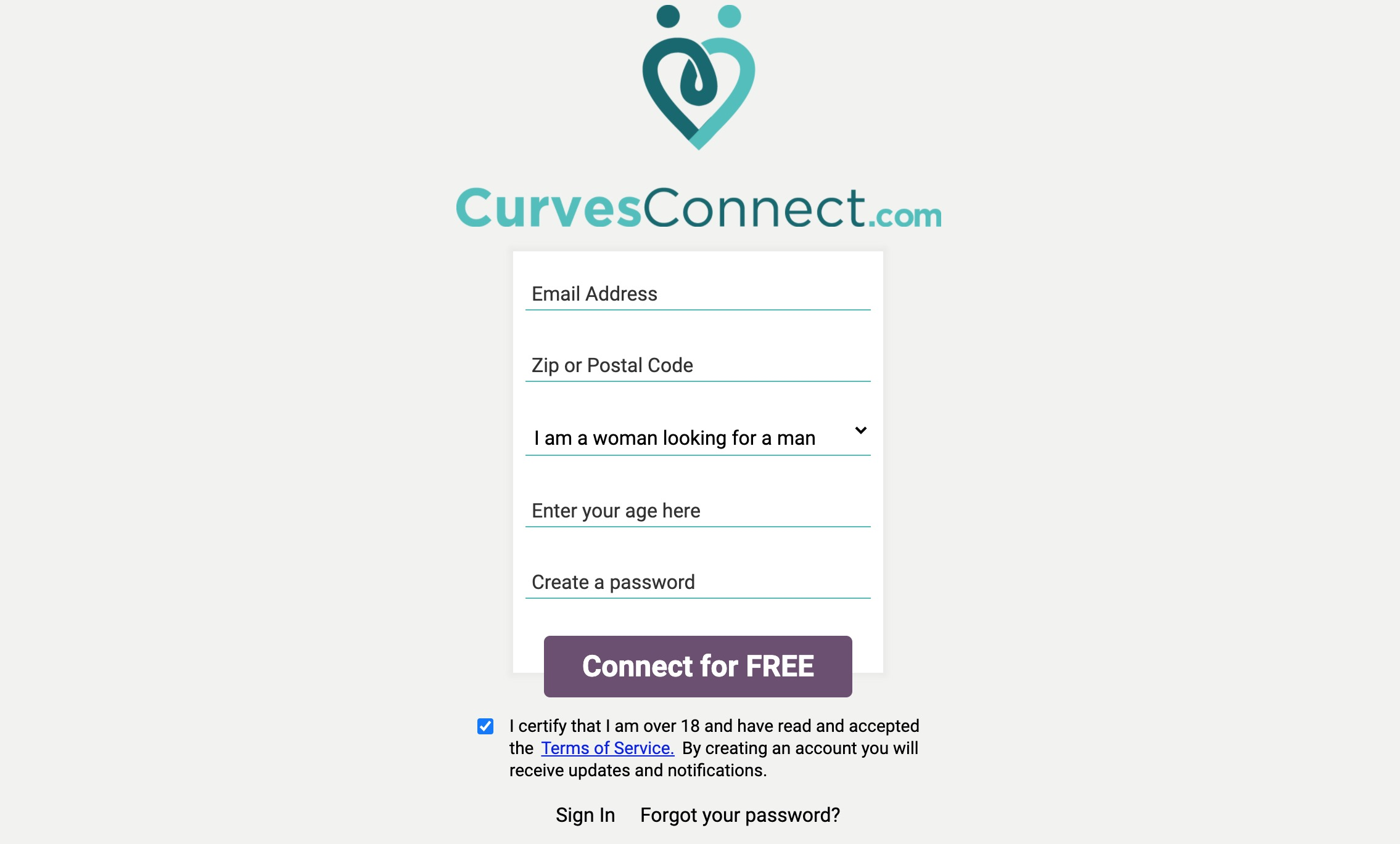 CurvesConnect main page
