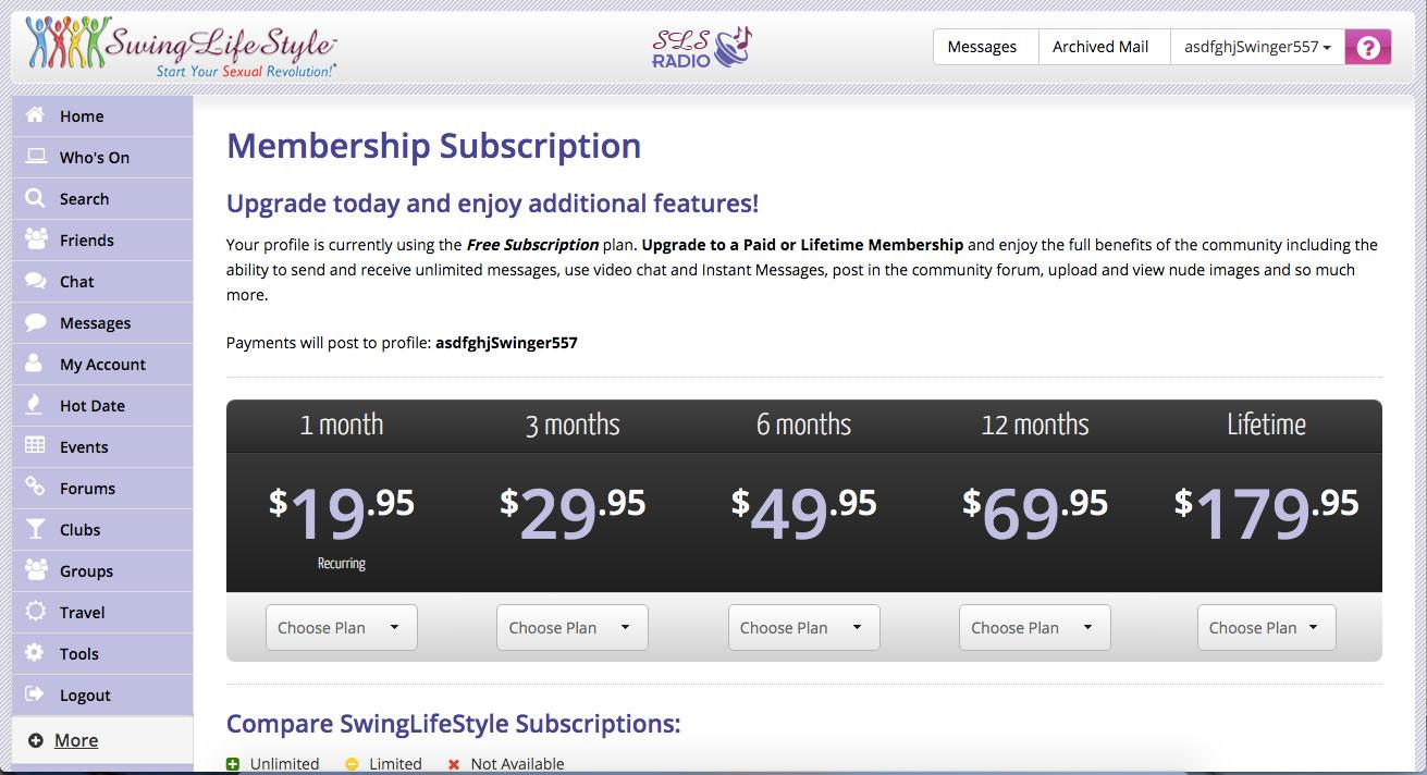SwingLifestyle membership subscription