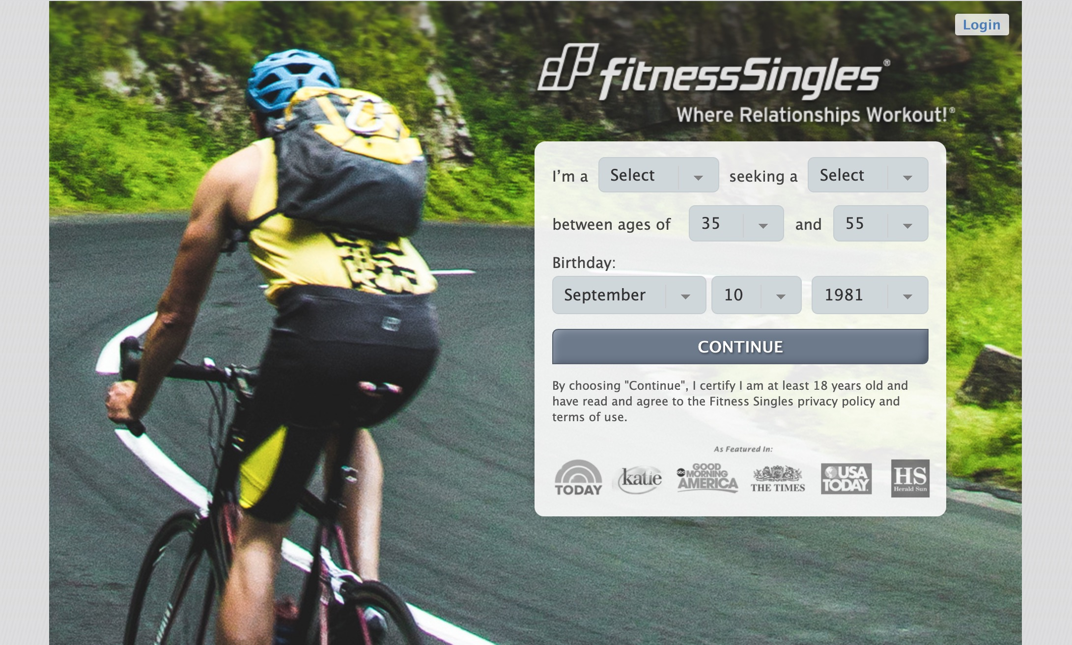 fitness singles main page