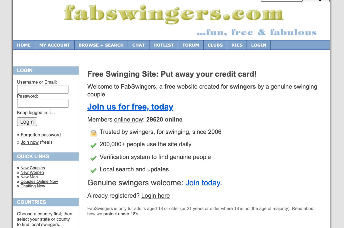 FabSwingers home page